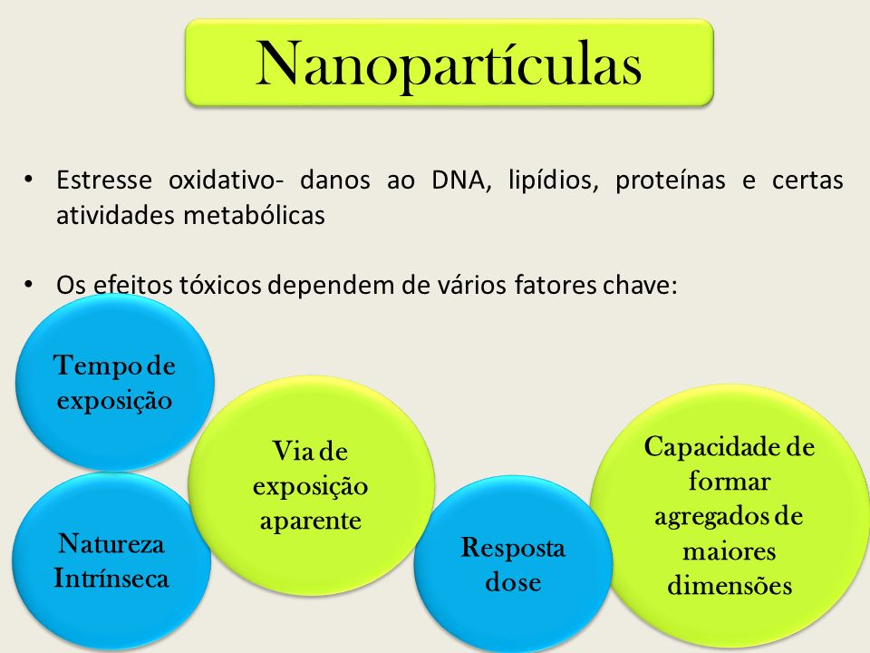 NanopartículasEstresse oxidativo- danos ao DNA, lipídios, proteínas e certas atividades metabólicas.