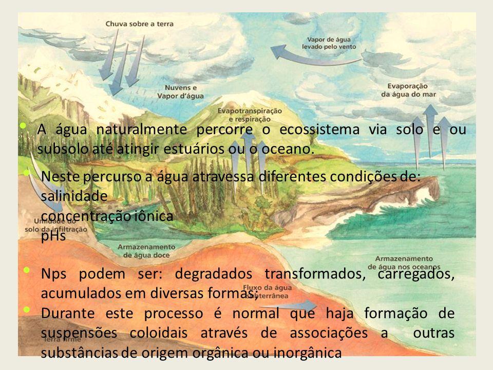 Neste percurso a água atravessa diferentes condições de: salinidade
