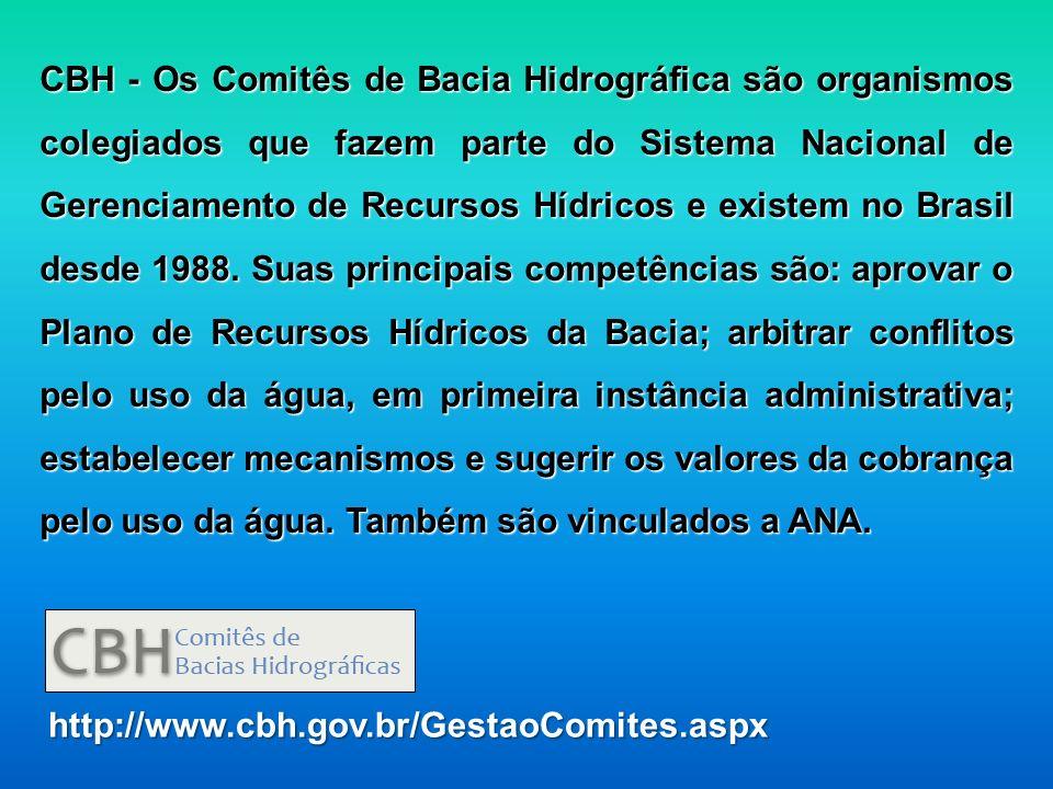 CBH - Os Comitês de Bacia Hidrográfica são organismos colegiados que fazem parte do Sistema Nacional de Gerenciamento de Recursos Hídricos e existem no Brasil desde 1988. Suas principais competências são: aprovar o Plano de Recursos Hídricos da Bacia; arbitrar conflitos pelo uso da água, em primeira instância administrativa; estabelecer mecanismos e sugerir os valores da cobrança pelo uso da água. Também são vinculados a ANA.