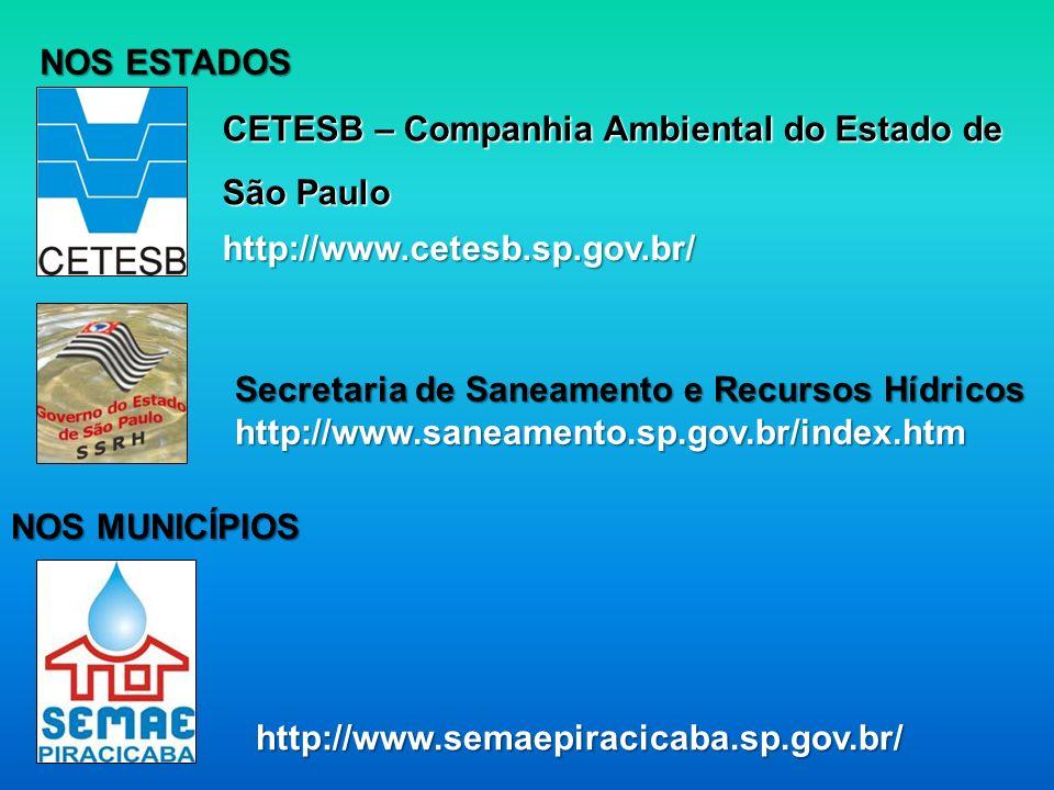 NOS ESTADOS CETESB – Companhia Ambiental do Estado de São Paulo. http://www.cetesb.sp.gov.br/ Secretaria de Saneamento e Recursos Hídricos.