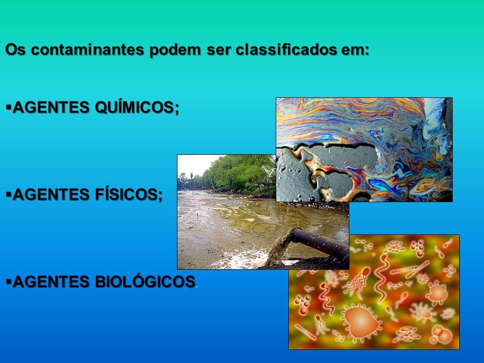 Os contaminantes podem ser classificados em: