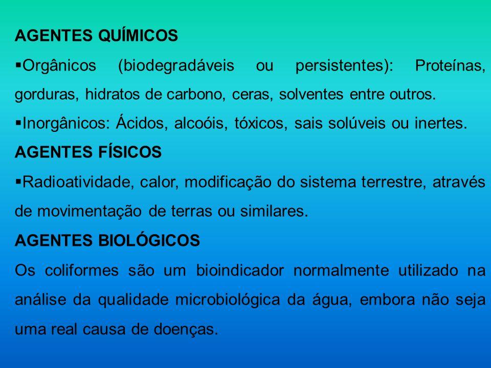 AGENTES QUÍMICOS Orgânicos (biodegradáveis ou persistentes): Proteínas, gorduras, hidratos de carbono, ceras, solventes entre outros.