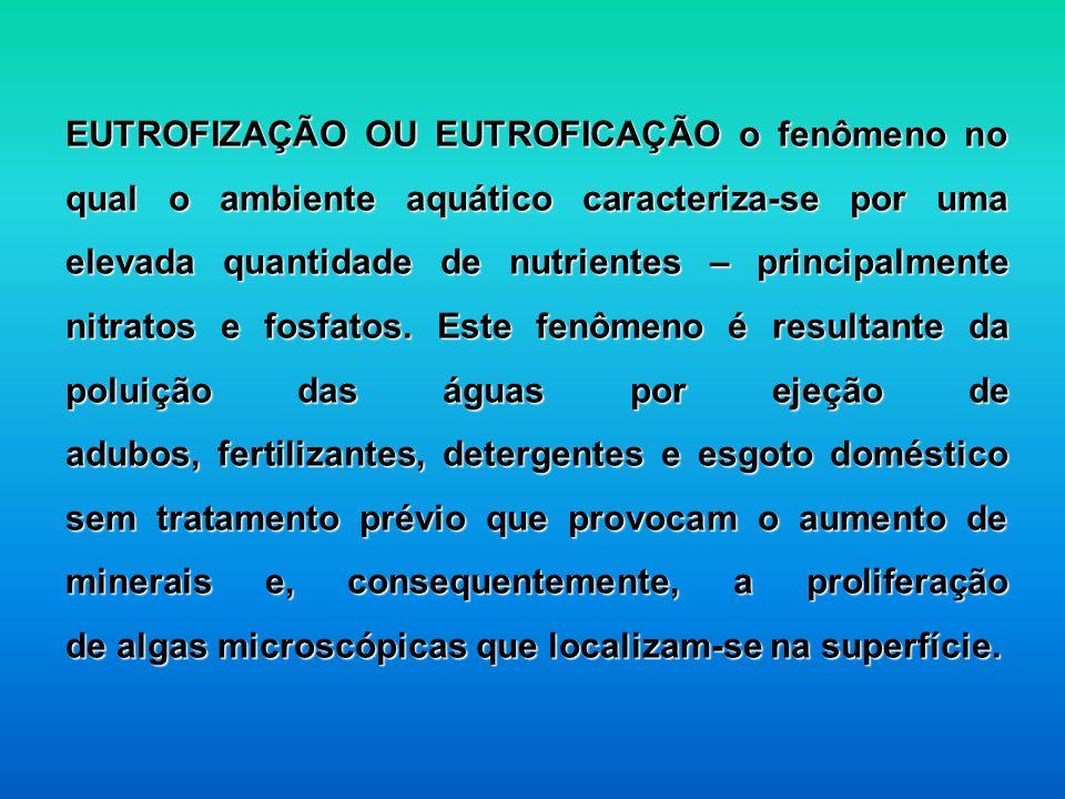 EUTROFIZAÇÃO OU EUTROFICAÇÃO o fenômeno no qual o ambiente aquático caracteriza-se por uma elevada quantidade de nutrientes – principalmente nitratos e fosfatos. Este fenômeno é resultante da poluição das águas por ejeção de adubos, fertilizantes, detergentes e esgoto doméstico sem tratamento prévio que provocam o aumento de minerais e, consequentemente, a proliferação de algas microscópicas que localizam-se na superfície.