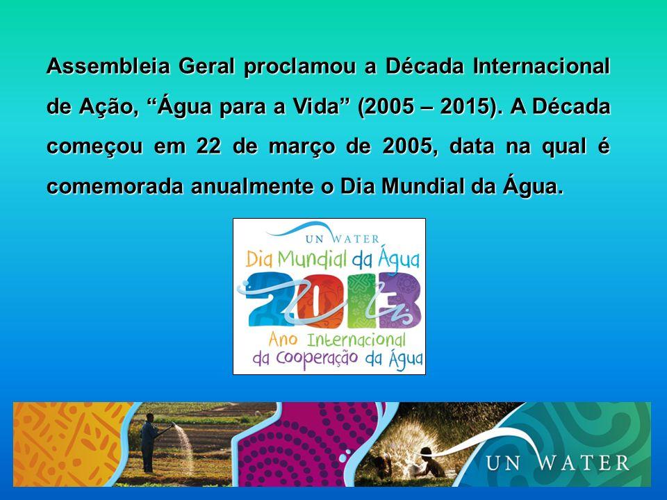 Assembleia Geral proclamou a Década Internacional de Ação, Água para a Vida (2005 – 2015).