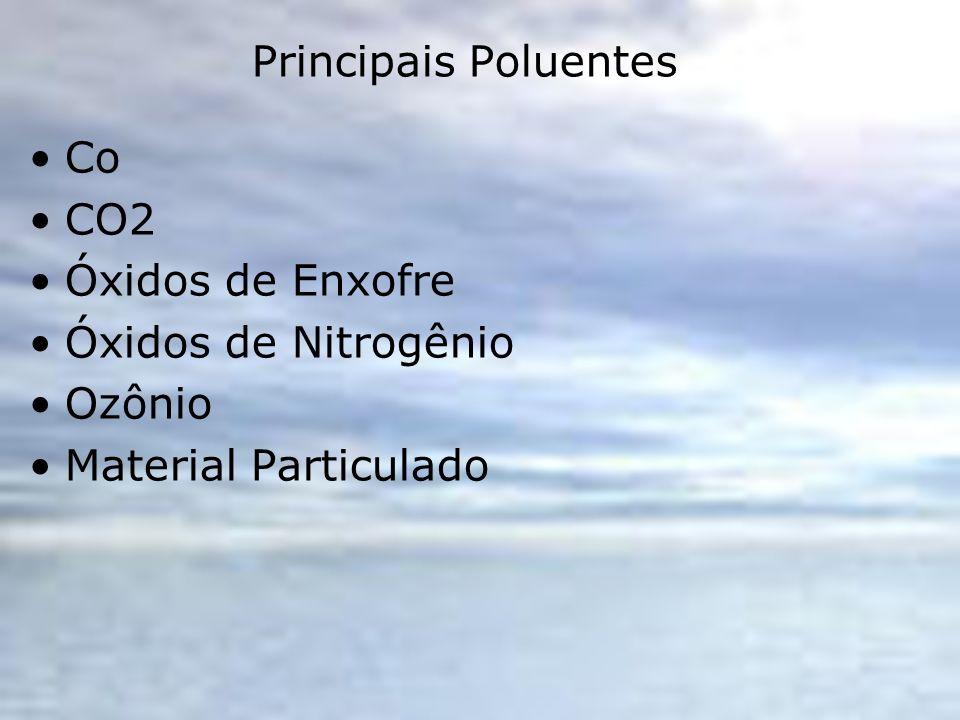 Principais Poluentes Co CO2 Óxidos de Enxofre Óxidos de Nitrogênio Ozônio Material Particulado