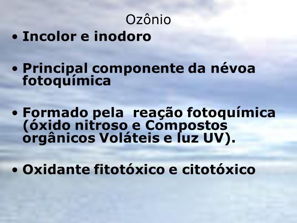 OzônioIncolor e inodoro. Principal componente da névoa fotoquímica.