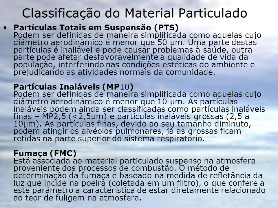 Classificação do Material Particulado