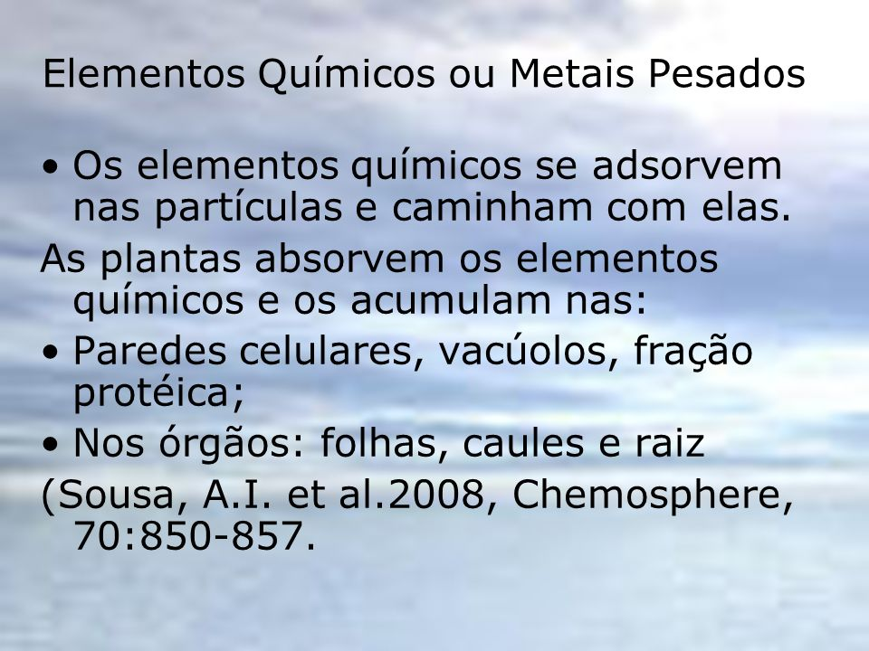 Elementos Químicos ou Metais Pesados