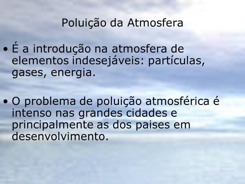 Poluição da Atmosfera É a introdução na atmosfera de elementos indesejáveis: partículas, gases, energia.