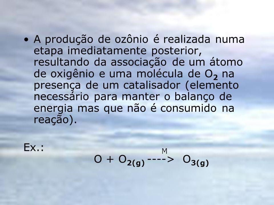 A produção de ozônio é realizada numa etapa imediatamente posterior, resultando da associação de um átomo de oxigênio e uma molécula de O2 na presença de um catalisador (elemento necessário para manter o balanço de energia mas que não é consumido na reação).