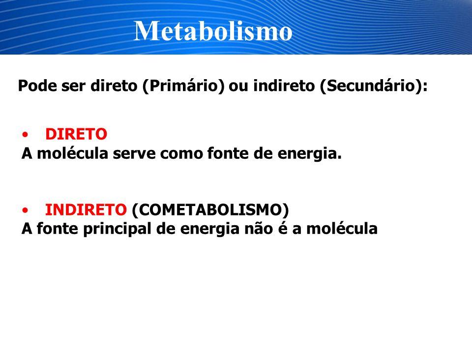 Metabolismo Pode ser direto (Primário) ou indireto (Secundário):