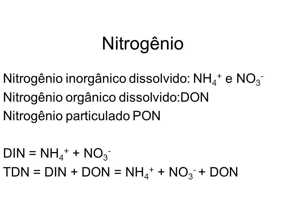 Nitrogênio Nitrogênio inorgânico dissolvido: NH4+ e NO3-