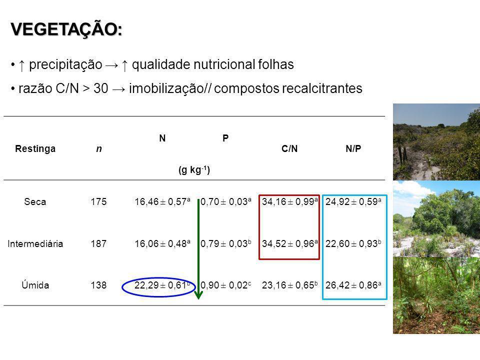 VEGETAÇÃO: ↑ precipitação → ↑ qualidade nutricional folhas