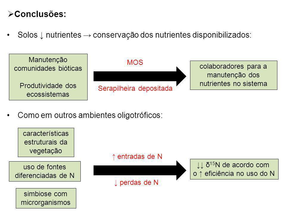 Conclusões: Solos ↓ nutrientes → conservação dos nutrientes disponibilizados: Como em outros ambientes oligotróficos: