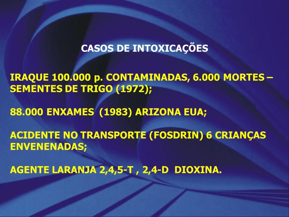 CASOS DE INTOXICAÇÕES IRAQUE 100.000 p. CONTAMINADAS, 6.000 MORTES – SEMENTES DE TRIGO (1972); 88.000 ENXAMES (1983) ARIZONA EUA;