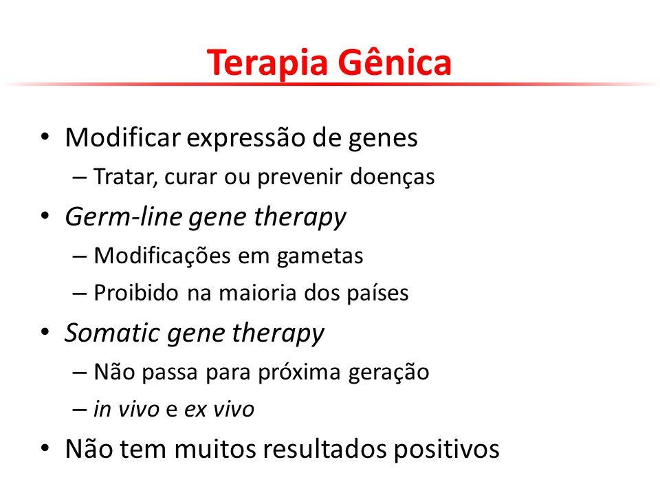 Terapia Gênica Modificar expressão de genes Germ-line gene therapy