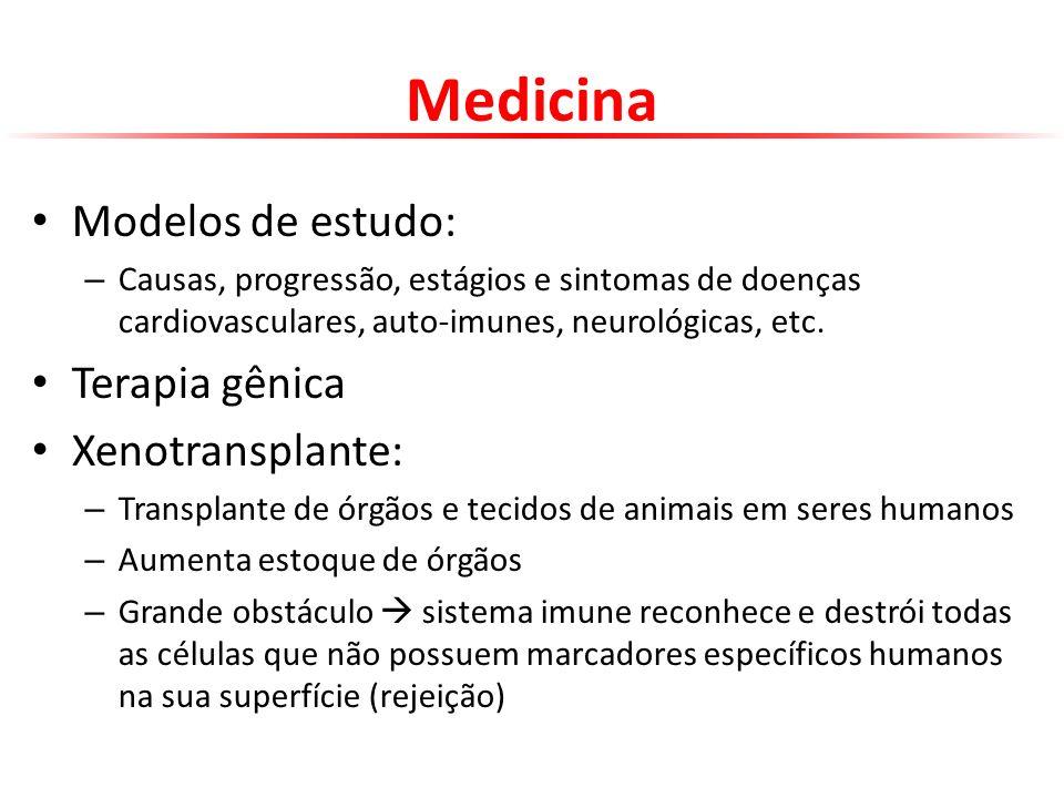Medicina Modelos de estudo: Terapia gênica Xenotransplante: