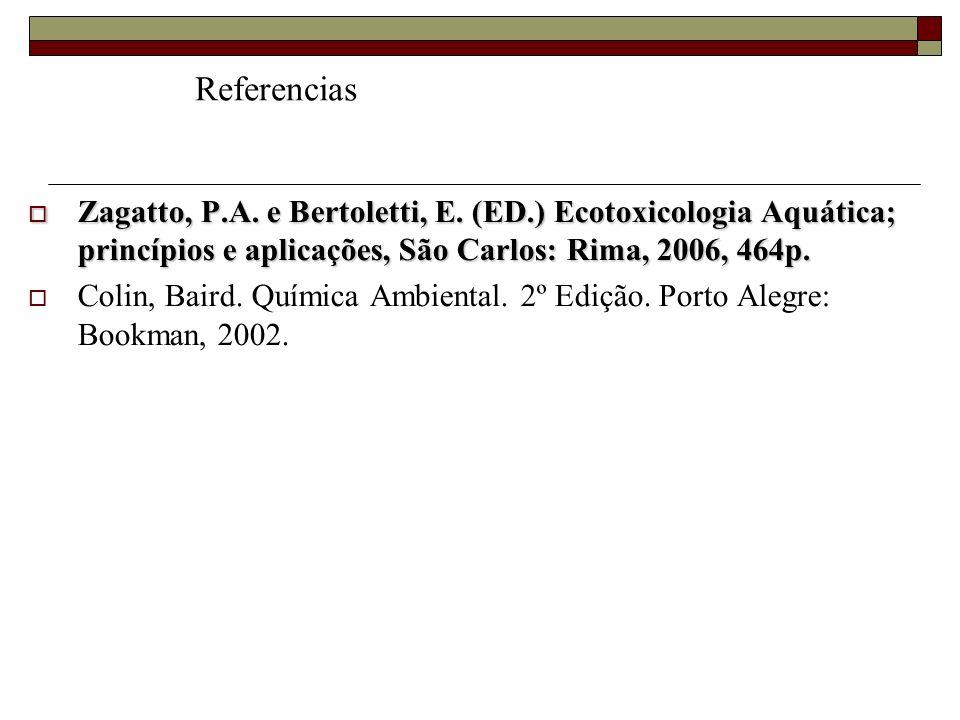 Referencias Zagatto, P.A. e Bertoletti, E. (ED.) Ecotoxicologia Aquática; princípios e aplicações, São Carlos: Rima, 2006, 464p.