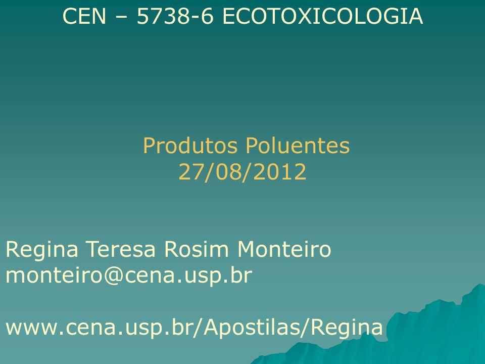 CEN – 5738-6 ECOTOXICOLOGIA Produtos Poluentes. 27/08/2012. Regina Teresa Rosim Monteiro. monteiro@cena.usp.br.