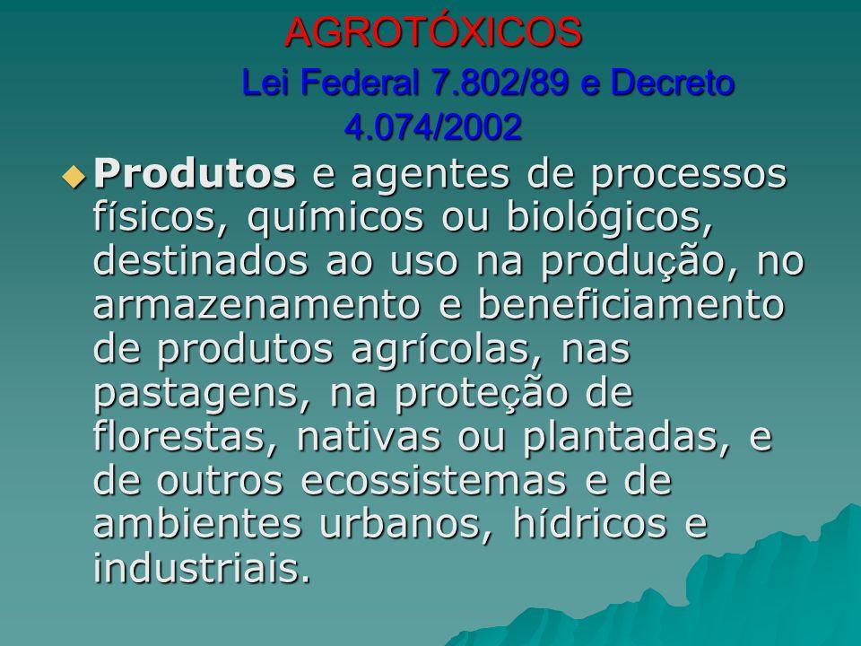 AGROTÓXICOS Lei Federal 7.802/89 e Decreto 4.074/2002