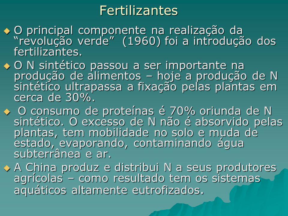 Fertilizantes O principal componente na realização da revolução verde (1960) foi a introdução dos fertilizantes.