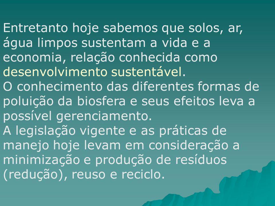 Entretanto hoje sabemos que solos, ar, água limpos sustentam a vida e a economia, relação conhecida como desenvolvimento sustentável.
