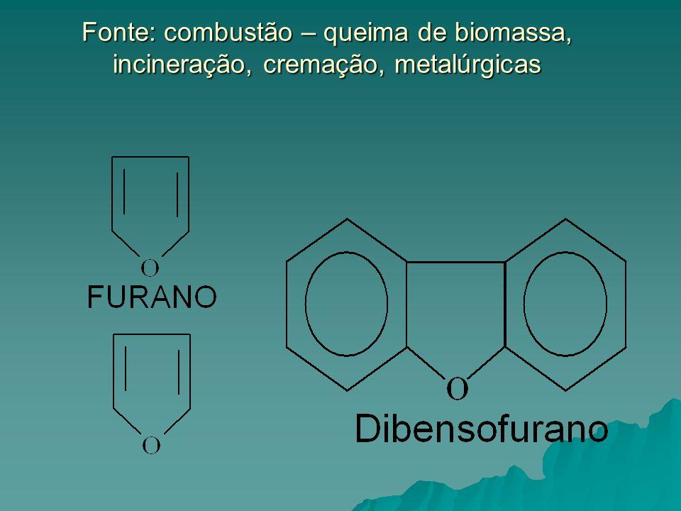 Fonte: combustão – queima de biomassa, incineração, cremação, metalúrgicas