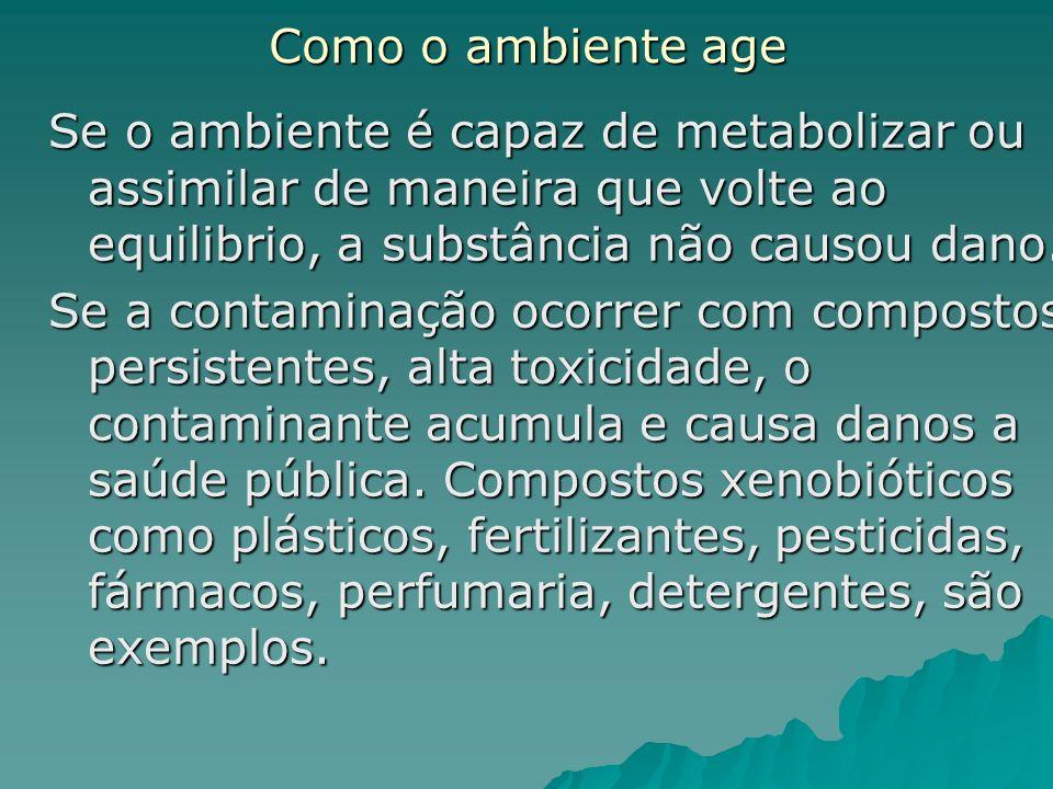 Como o ambiente age Se o ambiente é capaz de metabolizar ou assimilar de maneira que volte ao equilibrio, a substância não causou dano.