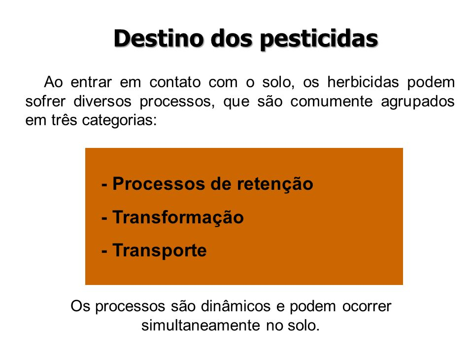 Destino dos pesticidas