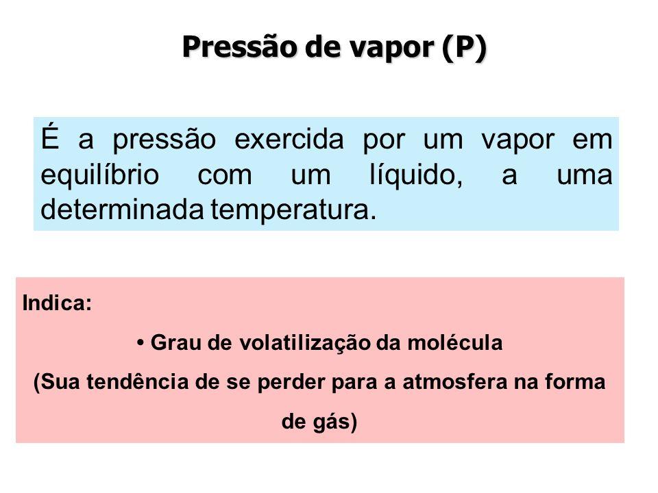 Pressão de vapor (P)É a pressão exercida por um vapor em equilíbrio com um líquido, a uma determinada temperatura.