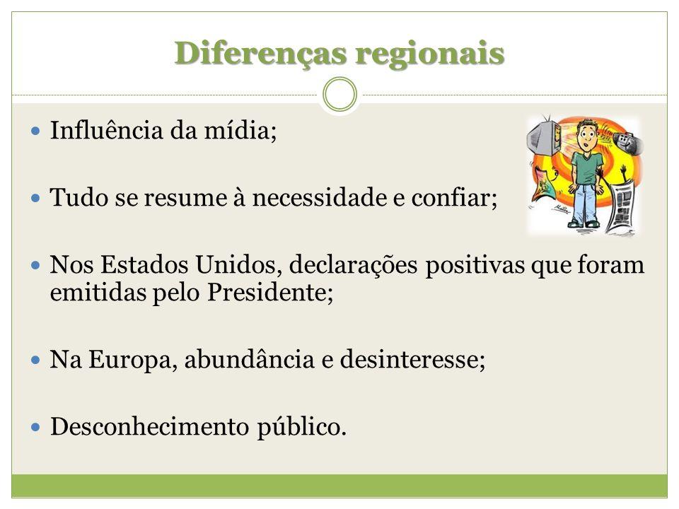 Diferenças regionais Influência da mídia;