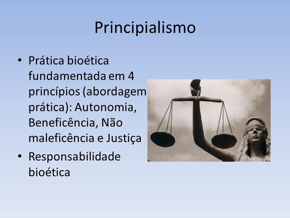 Principialismo Prática bioética fundamentada em 4 princípios (abordagem prática): Autonomia, Beneficência, Não maleficência e Justiça.