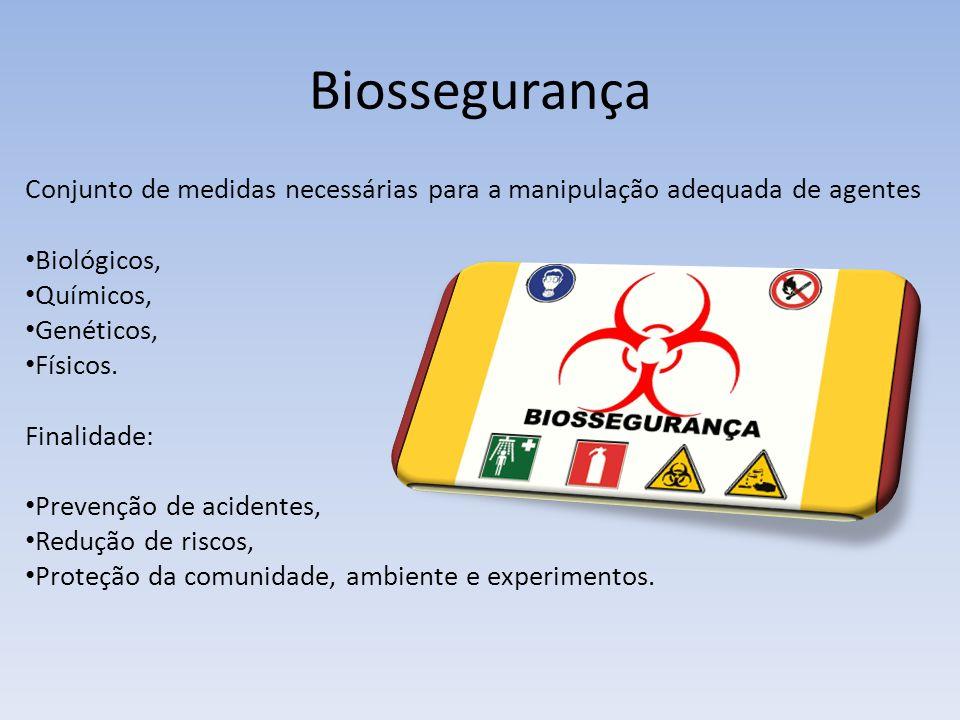 Biossegurança Conjunto de medidas necessárias para a manipulação adequada de agentes. Biológicos, Químicos,