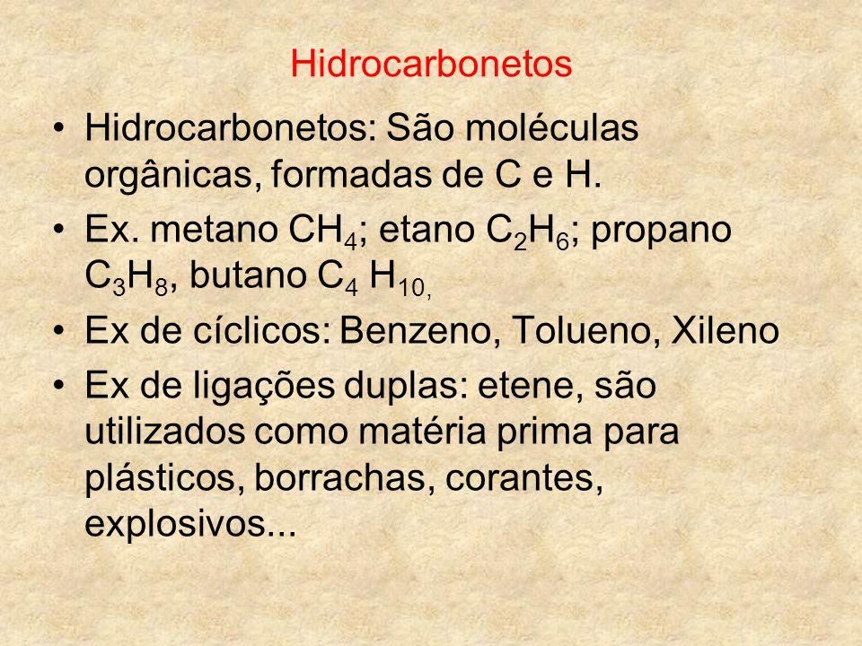 Hidrocarbonetos Hidrocarbonetos: São moléculas orgânicas, formadas de C e H. Ex. metano CH4; etano C2H6; propano C3H8, butano C4 H10,