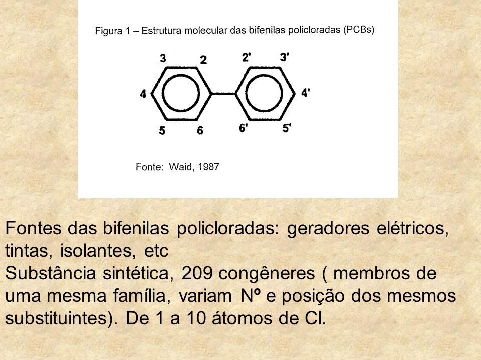 Fontes das bifenilas policloradas: geradores elétricos, tintas, isolantes, etc