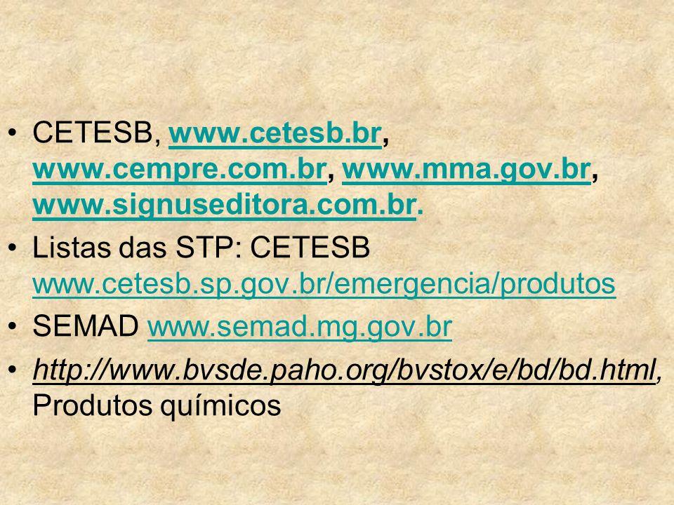 CETESB, www. cetesb. br, www. cempre. com. br, www. mma. gov. br, www