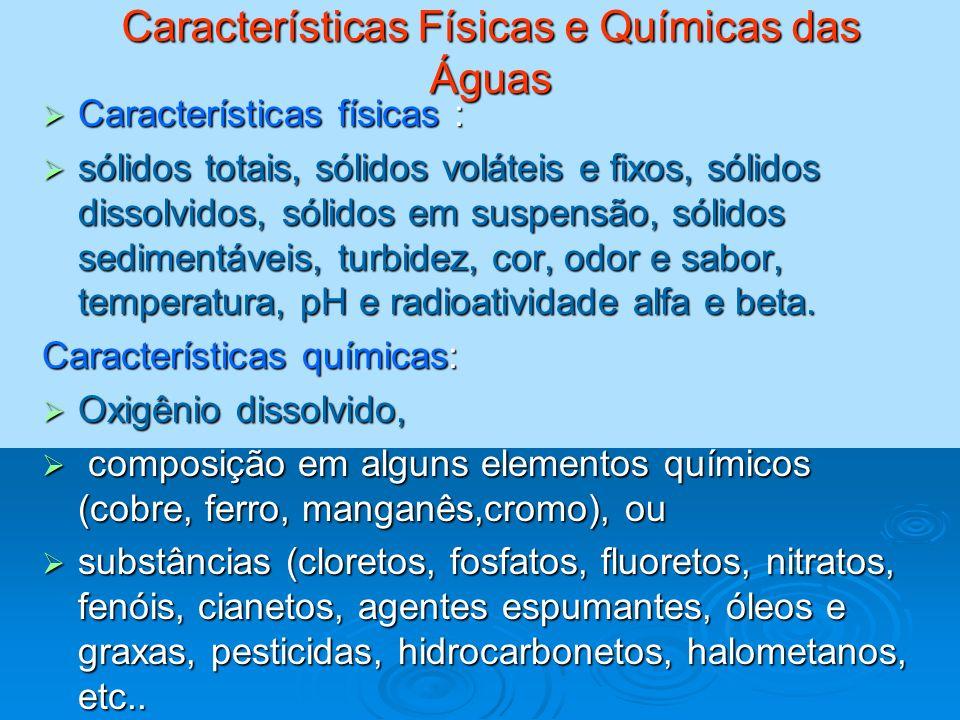 Características Físicas e Químicas das Águas