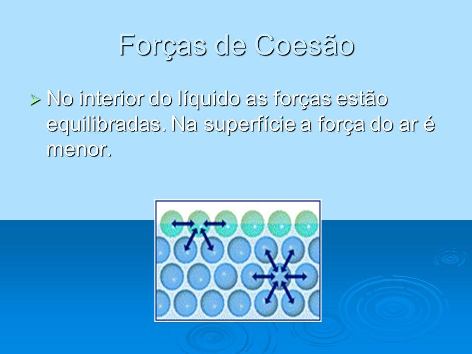 Forças de Coesão No interior do líquido as forças estão equilibradas.