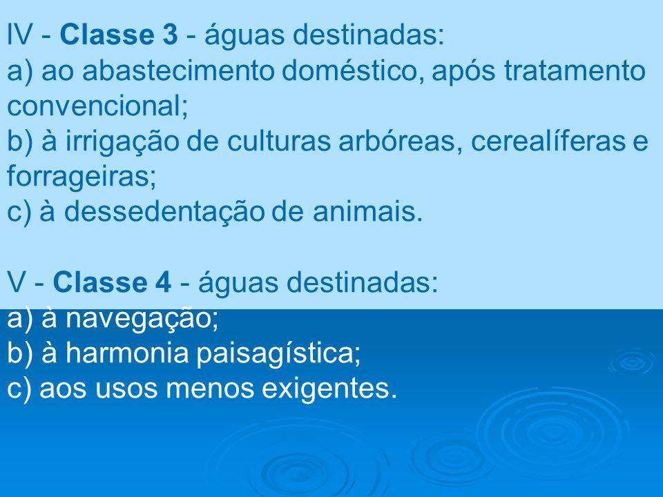 lV - Classe 3 - águas destinadas: