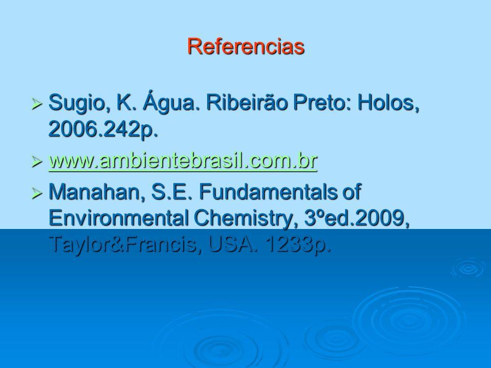 Referencias Sugio, K. Água. Ribeirão Preto: Holos, 2006.242p. www.ambientebrasil.com.br.