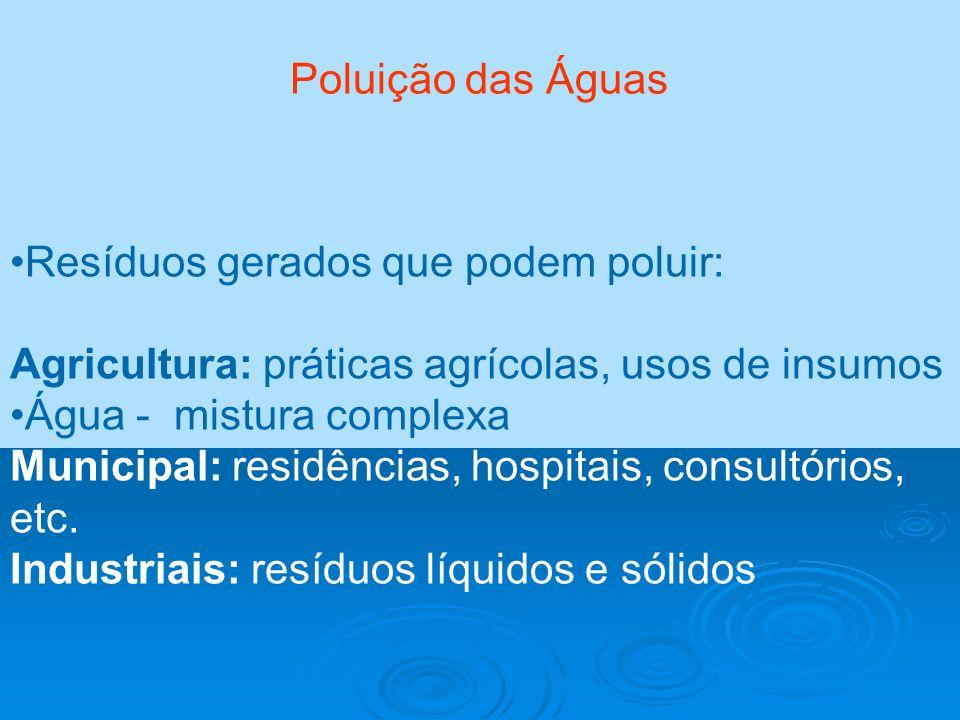 Poluição das Águas Resíduos gerados que podem poluir: Agricultura: práticas agrícolas, usos de insumos.
