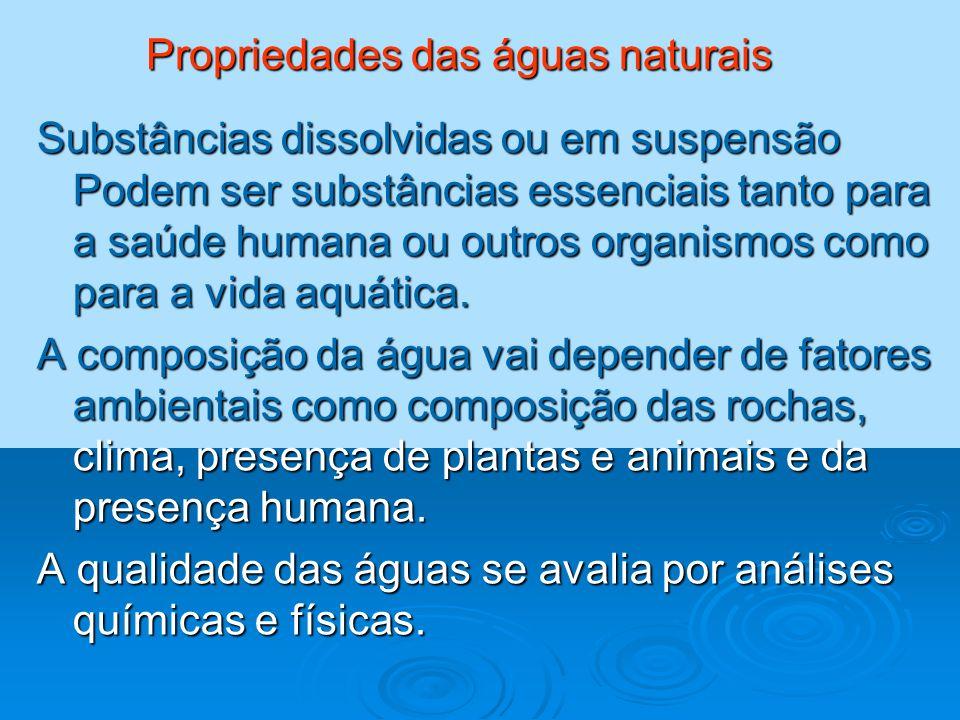 Propriedades das águas naturais
