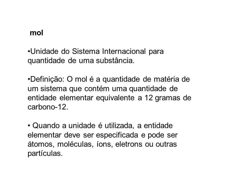 mol Unidade do Sistema Internacional para quantidade de uma substância.