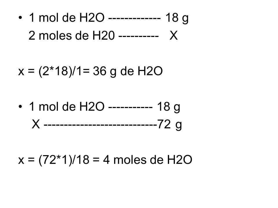 1 mol de H2O ------------- 18 g