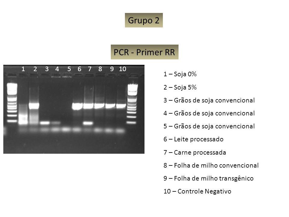 Grupo 2 PCR - Primer RR 1 2 3 4 5 6 7 8 9 10 1 – Soja 0% 2 – Soja 5%