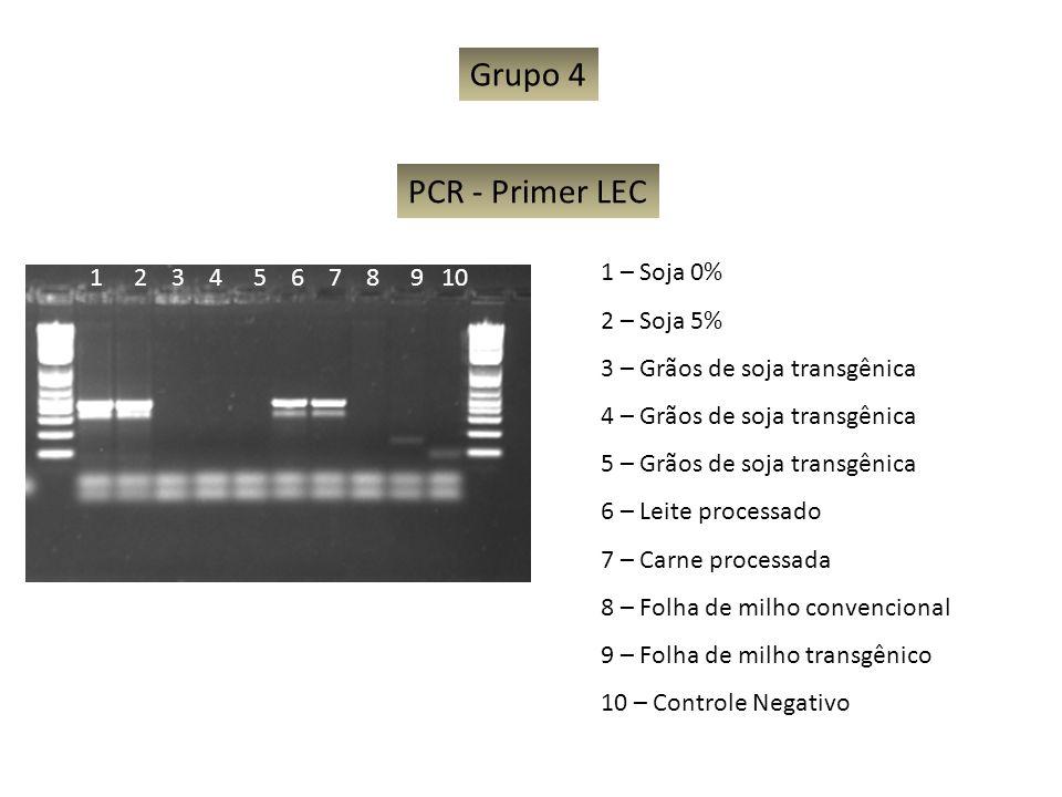 Grupo 4 PCR - Primer LEC 1 – Soja 0% 1 2 3 4 5 6 7 8 9 10 2 – Soja 5%