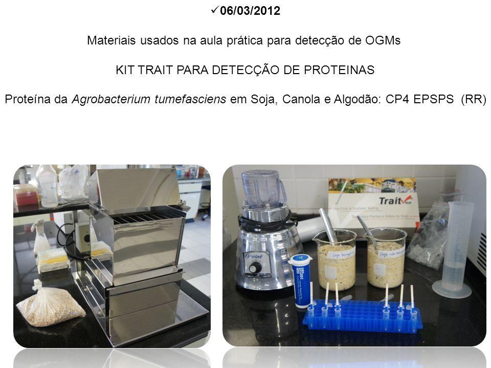 Materiais usados na aula prática para detecção de OGMs