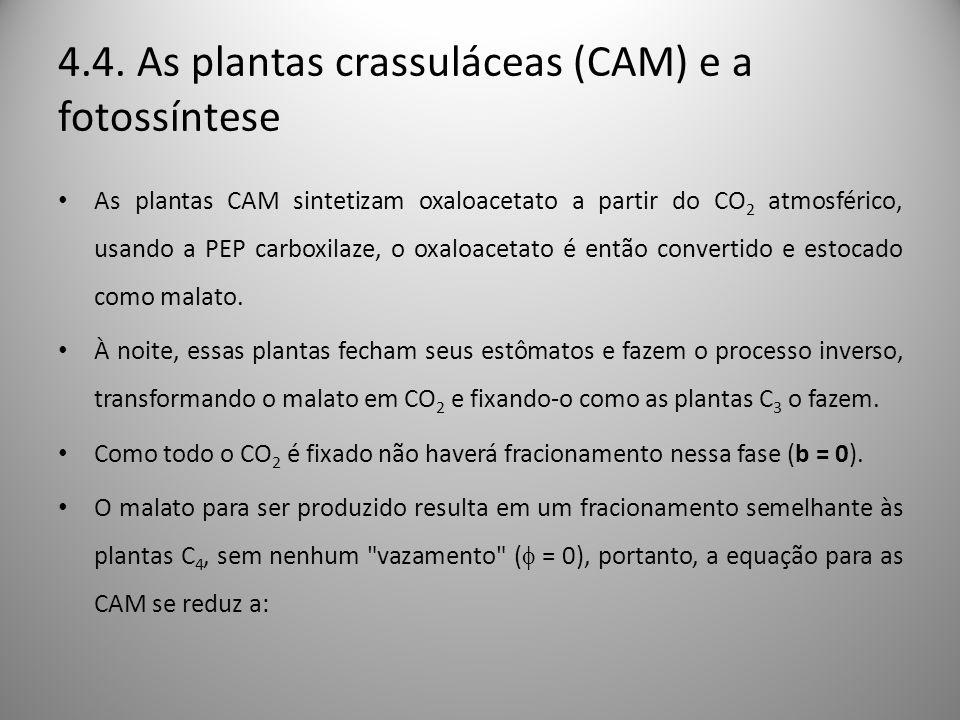 4.4. As plantas crassuláceas (CAM) e a fotossíntese
