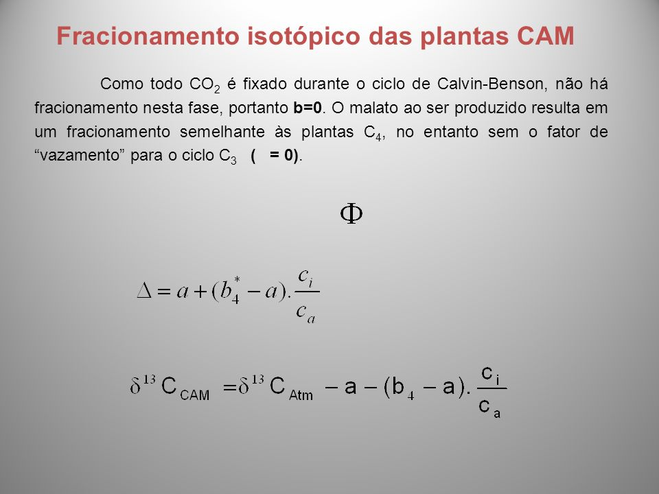 Fracionamento isotópico das plantas CAM
