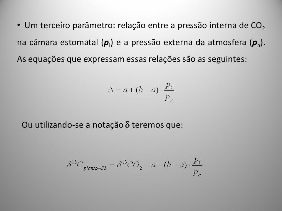 Um terceiro parâmetro: relação entre a pressão interna de CO2 na câmara estomatal (pi) e a pressão externa da atmosfera (pa). As equações que expressam essas relações são as seguintes: